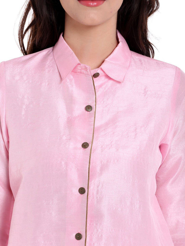 Pink Jacket in Dupion Fabric - Ira Soleil