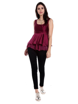 Ira Soleil Purple Peplum Top in tafeta fabric