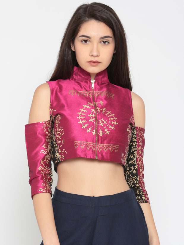 Pink block printed cold shoulder top - Ira Soleil