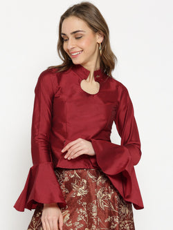 Ira Soleil Top made in Taffeta Fabric with peplum Sleeves