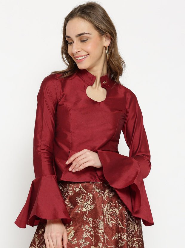 Ira Soleil Top made in Taffeta Fabric with peplum Sleeves - Ira Soleil