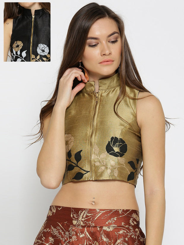 Gold Reversible printed Top made in Dupion Fabric - Ira Soleil