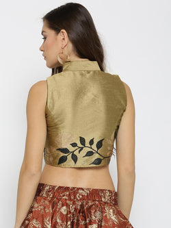 Ira Soleil Gold Reversable Top made in Dupion Fabric