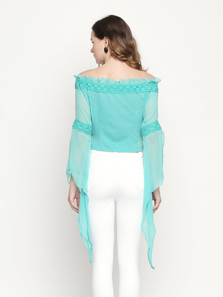 Off-shoulder winged sleeve Chiffon Green top - Ira Soleil