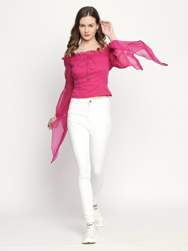 Off-shoulder winged sleeve Chiffon Pink top - Ira Soleil