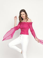 Off-shoulder winged sleeve Chiffon Pink top. - Ira Soleil
