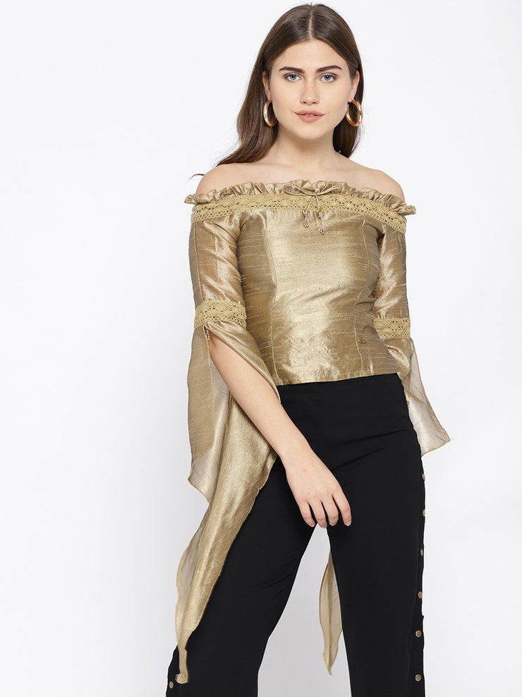 Gold Off shoulder Top with winged  sleeves - Ira Soleil