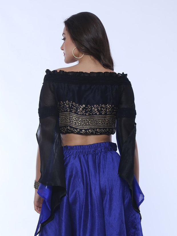Off Shoulder Black Reversible Top with slit on long sleeves - Ira Soleil