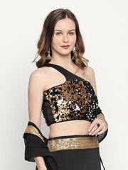 Gold one shoulder top in sequined fabric - Ira Soleil
