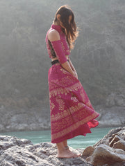 Ira soleil pink block printed long skirt
