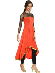 Pink highlow stretchable polyester kurta kurti with gold printed black net fabric and jewellry on neck line - Ira Soleil