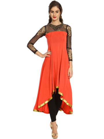 irasoleil-pink-highlow-strechable-polyester-kurta-kurti-with-gold-printed-black-net-fabric-and-jewllwery-on-neck-line