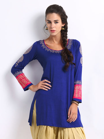 Ira Soleil Blue & Pink Block Printed Viscose Knitted Stretchable long sleeves Women's Short Kurti