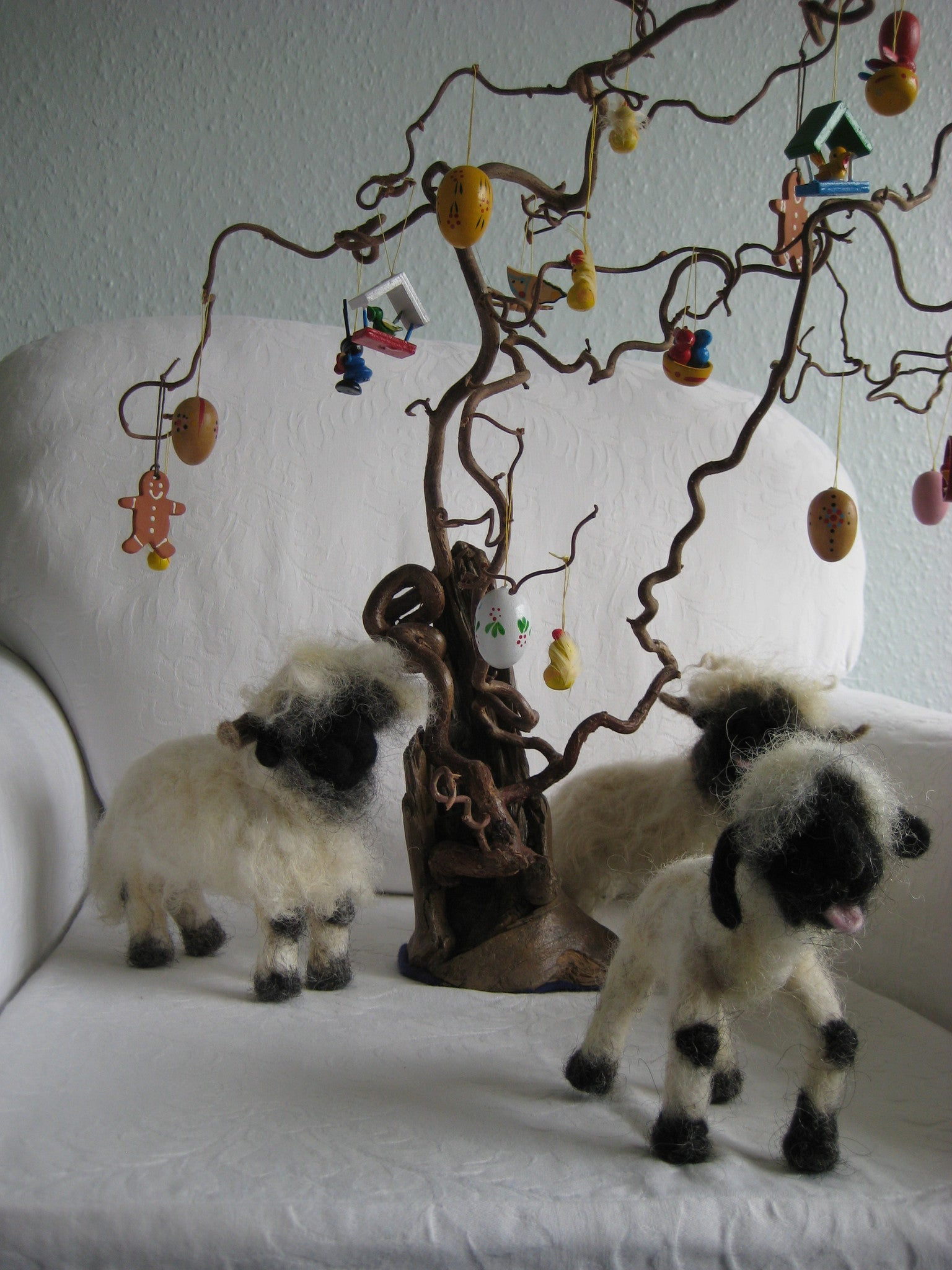 Felted sheep, made from our own VBN wool.