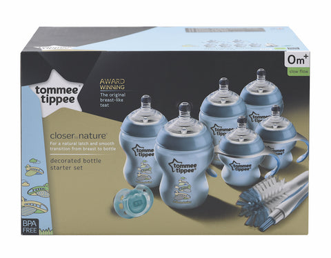 Tommee Tippee HK Sale Decorated Bottle Newborn Starter Kit Blue