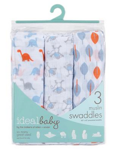 IDEALBABY SWADDLE CHEEKY MONKEY 3PK