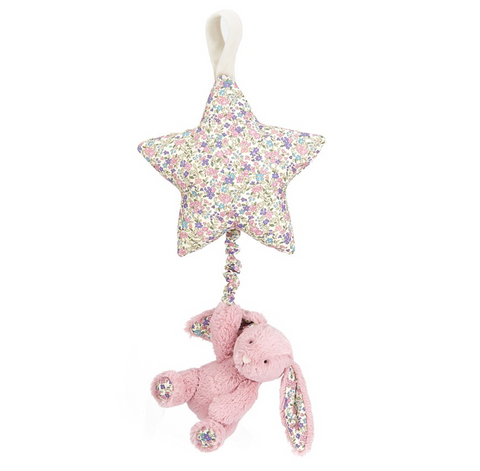 Jellycat Blossom Musical Pull HK Tulip Pink Bashful Bunny 28cm