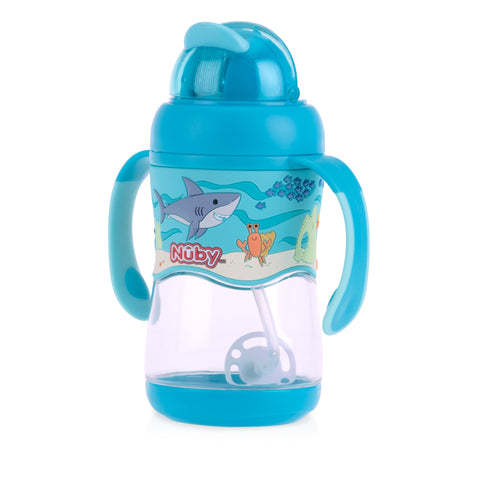 Nuby 1pk 400ml Tritan Flip It with 3D Vinyl Wrap with Weighted Straw - Aqua