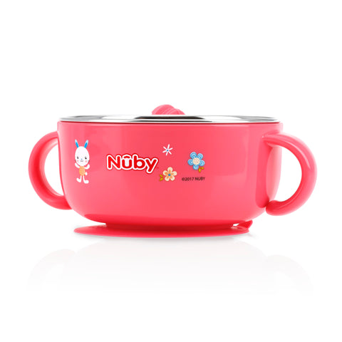 Nuby HK Sale Large Stainless Steel Suction Bowl with Water Reservoir and Lid-Pink