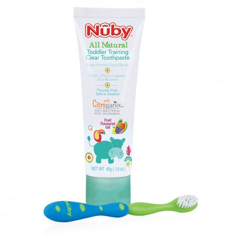 Nuby HK Sale All Natural Toddler Training Toothpaste and Toothbrush