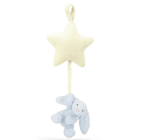 Jellycat HK Sale Bashful Blue Bunny Star Musical Pull