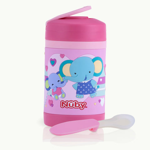 Nuby HK Sale 430ml 3D Stainless Steel Food Jar with Vinyl Wrap - Elephants