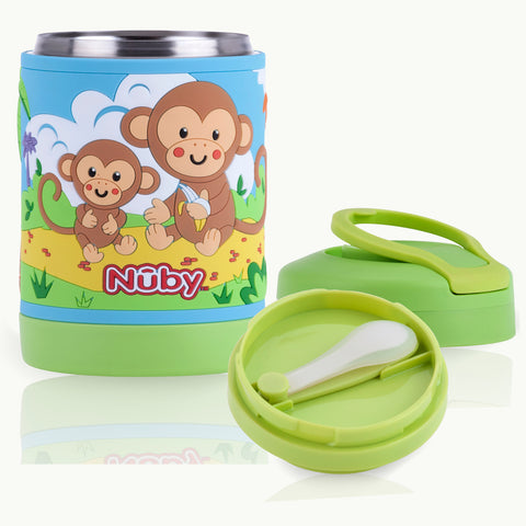 Nuby HK Sale 430ml 3D Stainless Steel Food Jar with Vinyl Wrap - Monkey