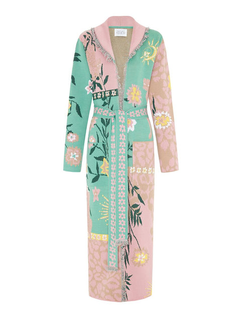 Enchanted Leopard Pink/Green Long Cardigan
