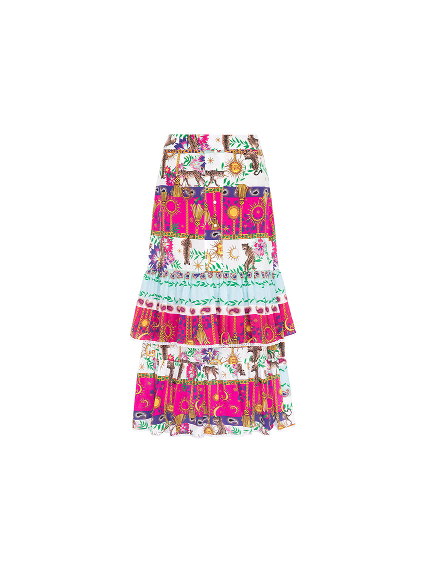 Enchanted Leopard Silk Midi Frill Skirt