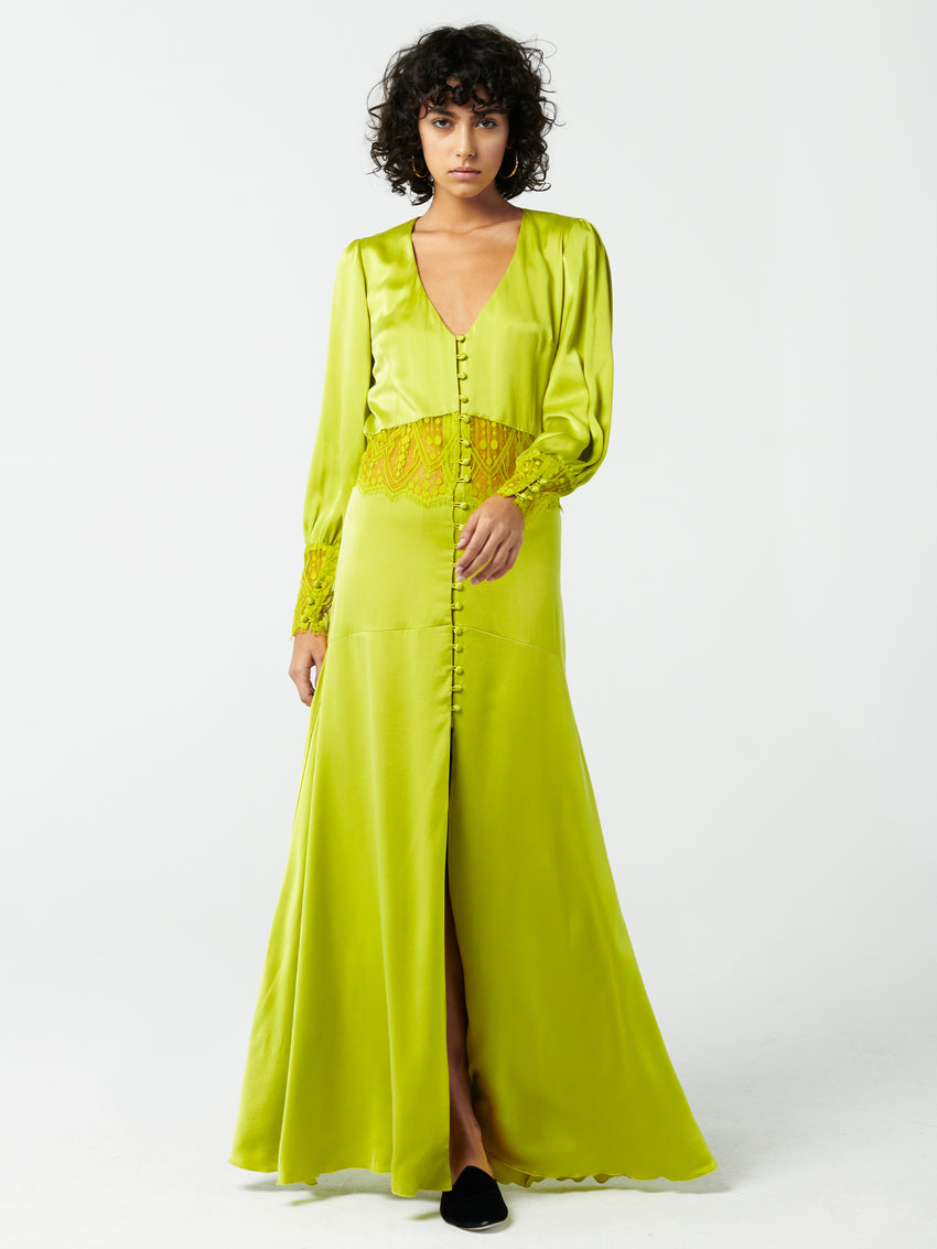 Lace Panel Silk Satin Maxi Dress