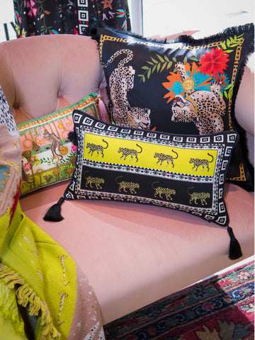Leopardess Silk Tassel Cushion