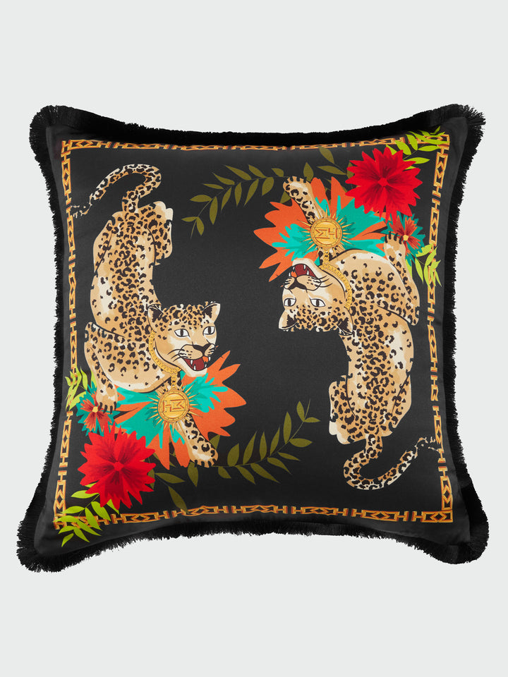 Enchanted Leopard Silk Fringe Cushion