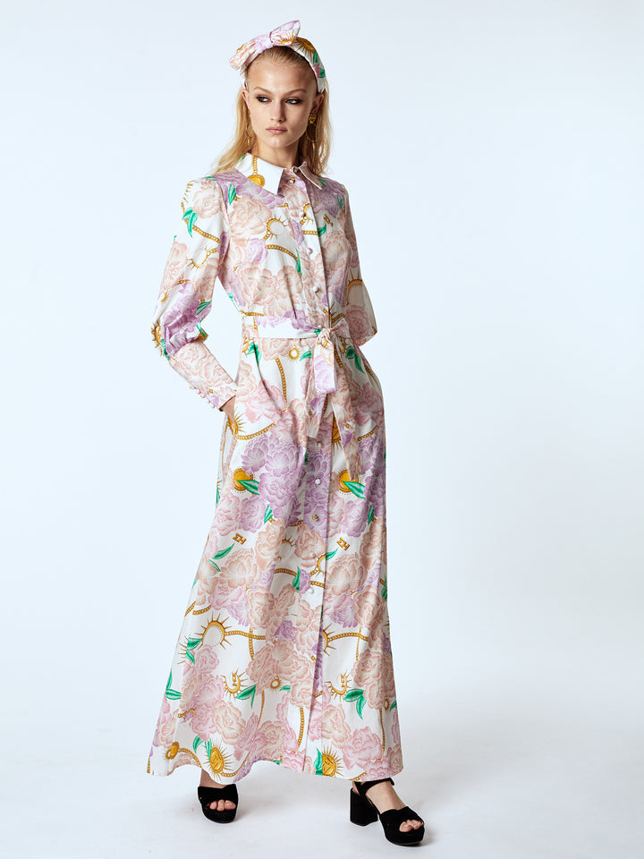 Luna Flora Cotton Maxi Shirt Dress