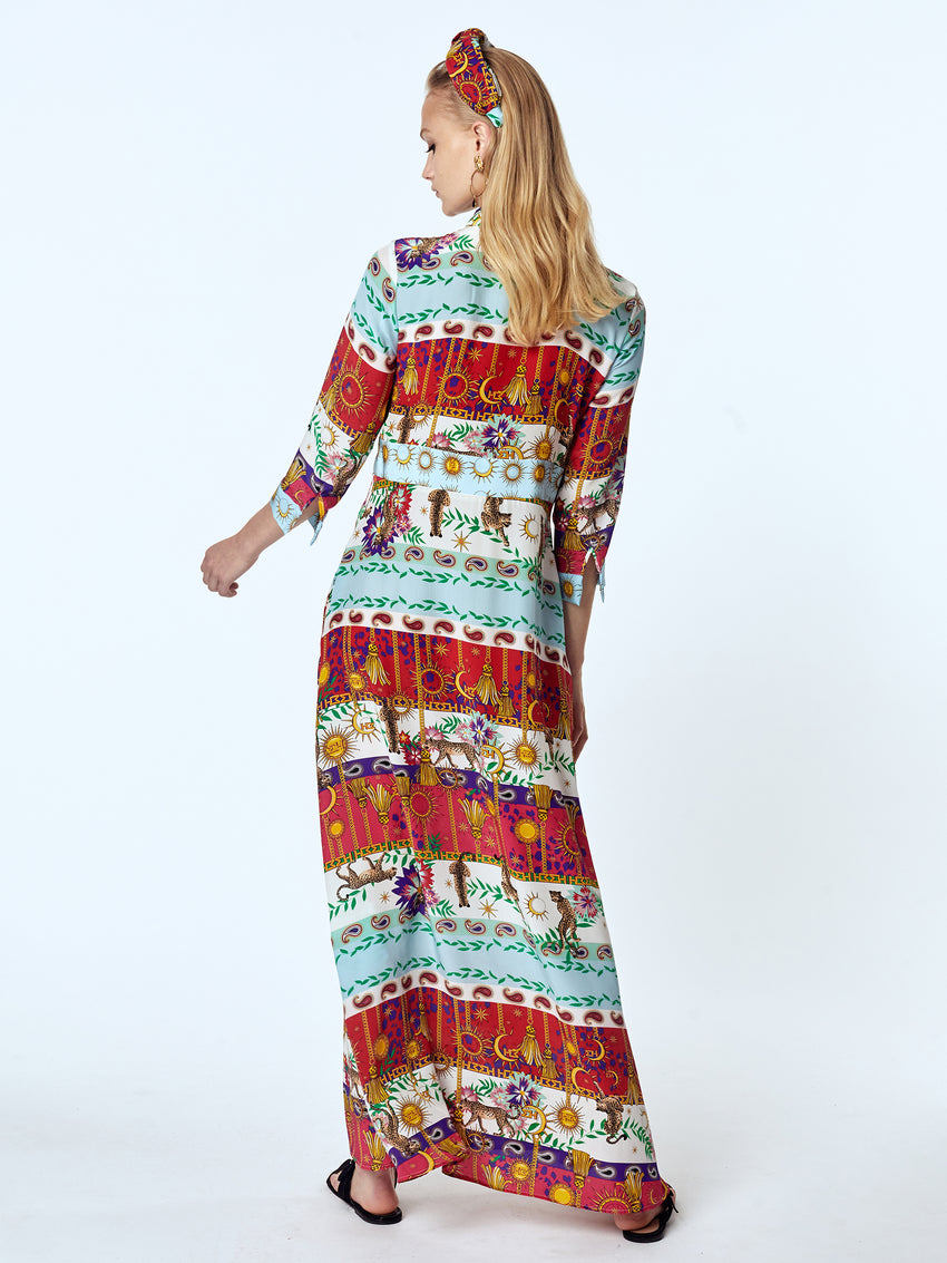 Enchanted Leopard Silk Maxi Shirt Dress