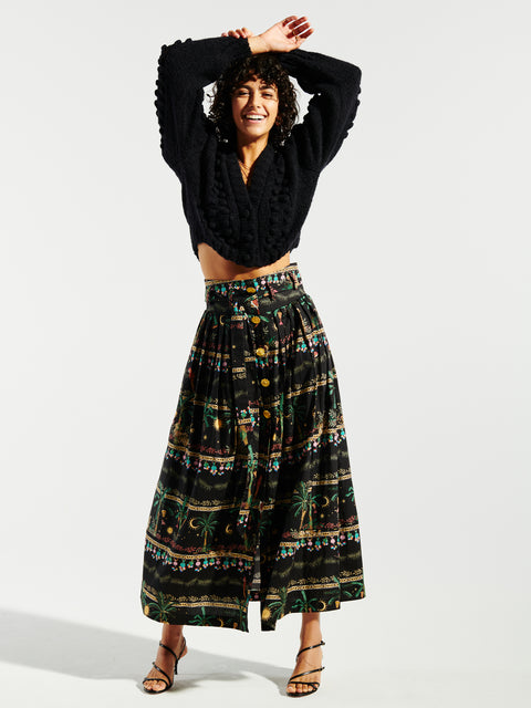 Midnight Safari Organic Cotton Pleated Midi Skirt