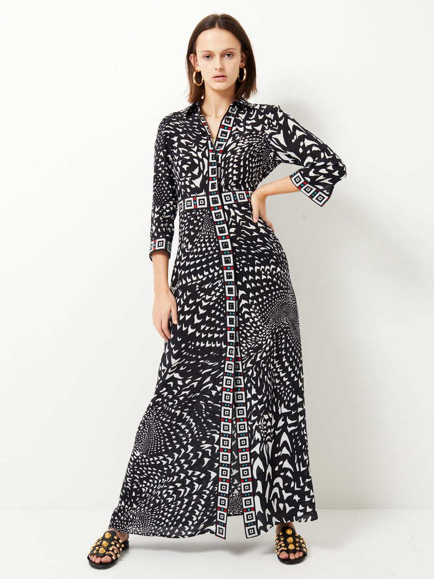 Wings Silk Maxi Shirt Dress