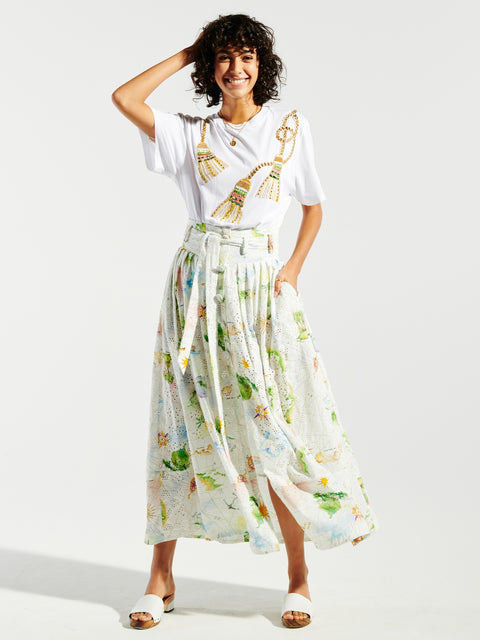 Paradise Found Cotton Broderie Pleated Maxi Skirt