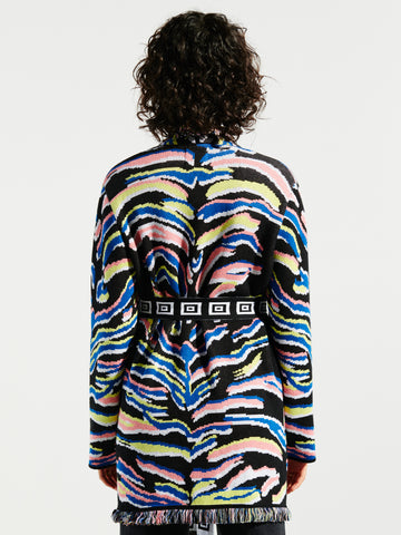 Shimmering Tiger Cotton Jacquard Cardigan