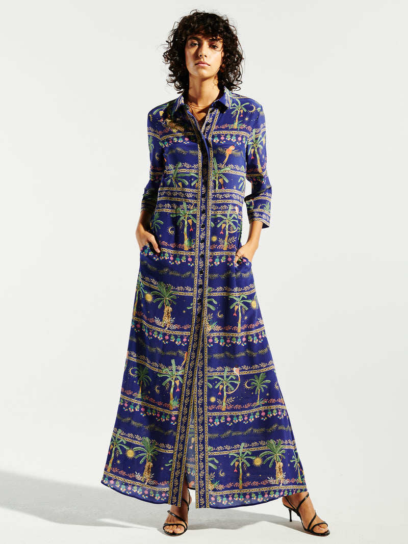 Twilight Safari Silk Maxi Shirt Dress