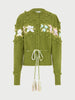 Gladys Intarsia Cotton Cardigan Green