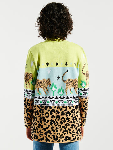 Leopardess Cotton Jacquard Cardigan