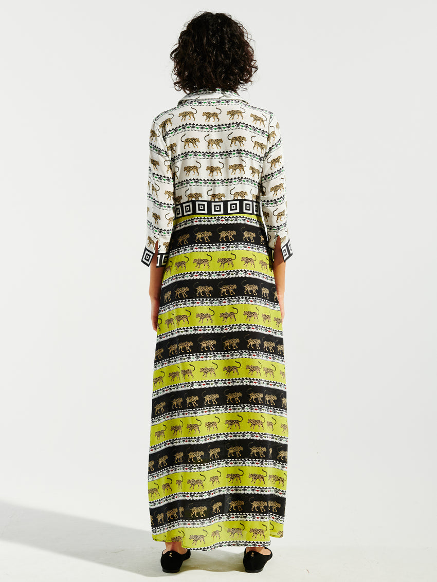 Leopardess Silk Maxi Shirt Dress