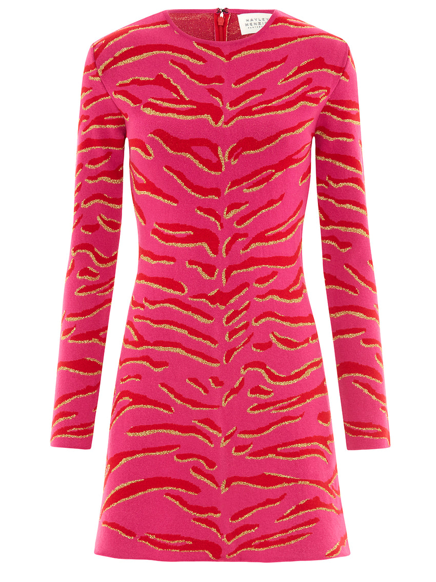 Jacquard Knit Tiger 54 Mini Dress Hot Pink