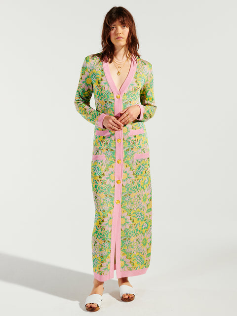 Samui Blooms Jacquard Maxi Cardi-Dress