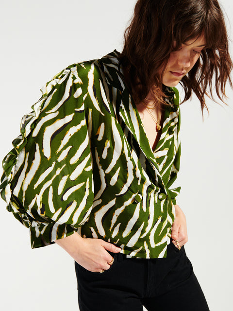 Shimmering Water Tiger Silk Tux Shirt Green