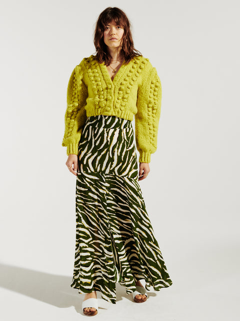 Shimmering Water Tiger Silk Midaxi Panel Skirt Green