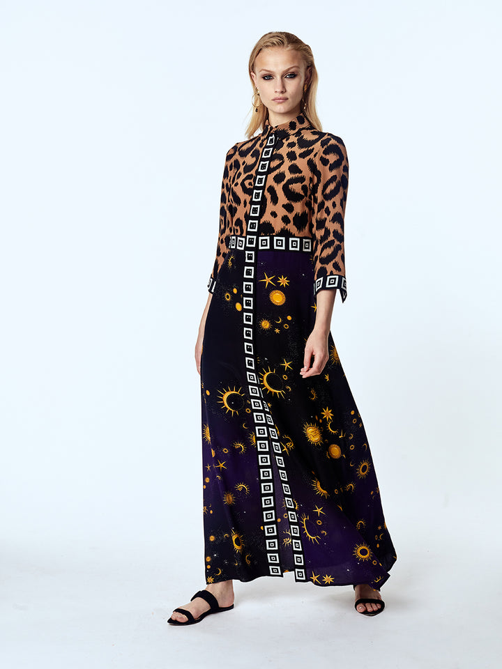Superstar Struck Silk Maxi Shirt Dress