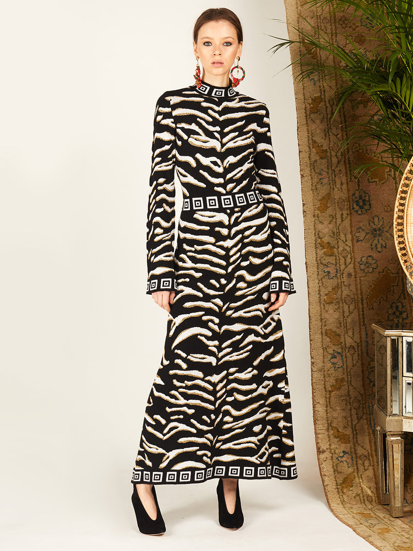 Jacquard Knit Tiger 54 Maxi Dress