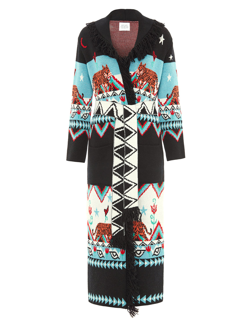 Tigress Merino Jacquard Long Cardigan