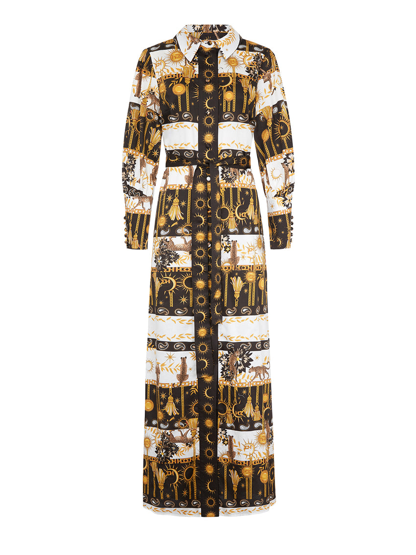 Enchanted Leopard Cotton Maxi Shirt Dress